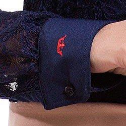 camisa social de renda marinho feminina principessa naomi detalhe bordado