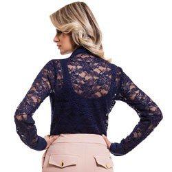 camisa social de renda marinho feminina principessa naomi detalhe look costa