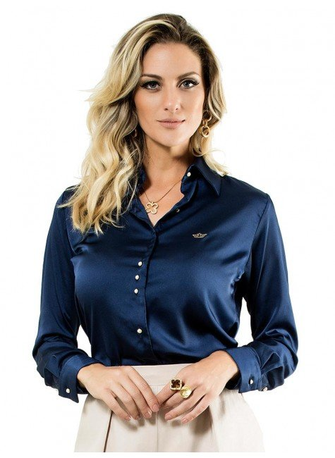 camisa cetim social marinho principessa jussara