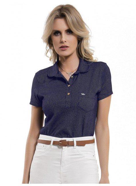 blusa polo feminina marinho ana livia