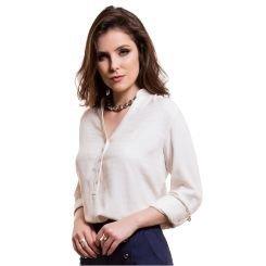blusa social com martingale bege