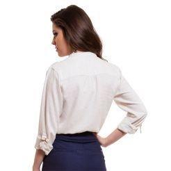 blusa social decote v em linho costas