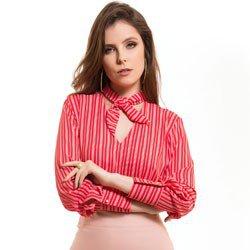 blusa feminina listrada gola de laco principessa noelise detalhe conceito modelagem