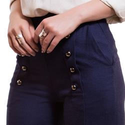 calca pantalona de linho marinho principessa thaina detalhe botao