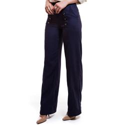 calca pantalona de linho marinho principessa thaina detalhe tecido