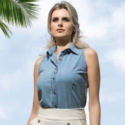 camisa jeans feminina sem manga principessa isadora detalhe conceito