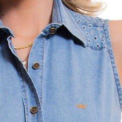 camisa jeans feminina sem manga principessa isadora detalhe detalhes