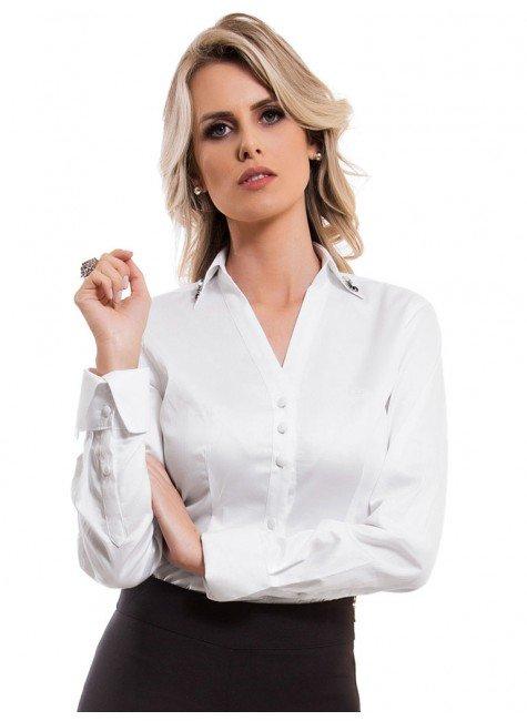 camisa social feminina branca principessa allana botao forrado look