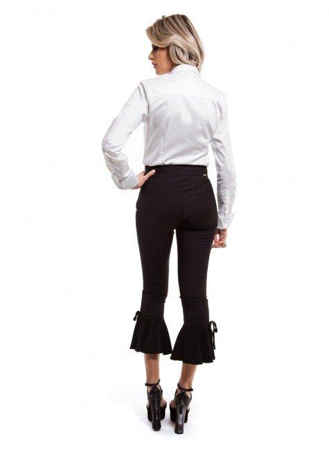 98bd4c7bbf ... camisa social feminina branca principessa allana botao forrado look  completo costa ...