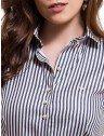 camisa feminina listrada premium principessa luiza gola