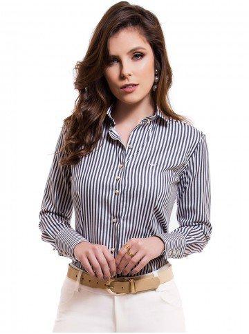 camisa feminina listrada premium principessa luiza look
