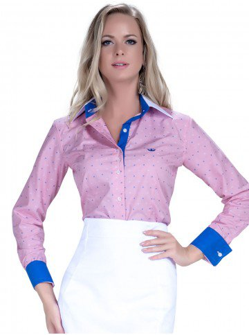 camisa premium principessa leticia maquinetado punhos azul look