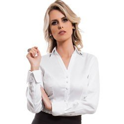 camisa feminina branca com broche principessa allana detalhe tecido fio egicpio