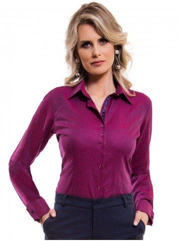camisa feminina premium com abotoadura principessa marjoly look