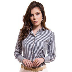 camisa feminina listrada premium principessa luiza detalhe modelagem