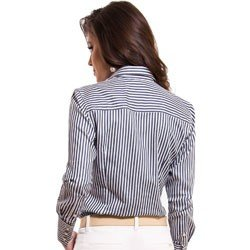 camisa feminina listrada premium principessa luiza detalhe tecido fio egipcio