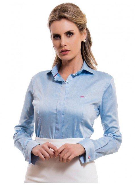 camisa feminina premium principessa tiffany abotoadura punho look