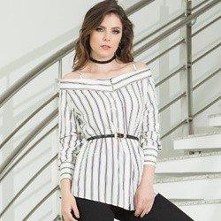 camisa ombro a ombro listrada principessa beatrice detalhe modelo