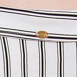 camisa ombro a ombro listrada principessa beatrice detalhe placa metal