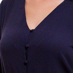 camisa feminina marinho bordado richilieu principessa ruth detalhe decote botao forrado