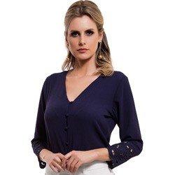 camisa feminina marinho bordado richilieu principessa ruth detalhe look