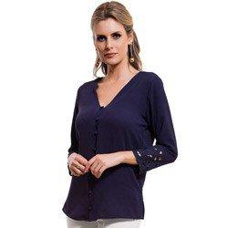 camisa feminina marinho bordado richilieu principessa ruth detalhe tecido modelagem