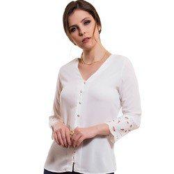camisa feminina bordado richilieu principessa adriele detalhe modelage m