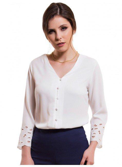 camisa feminina bordado richilieu principessa adriele look