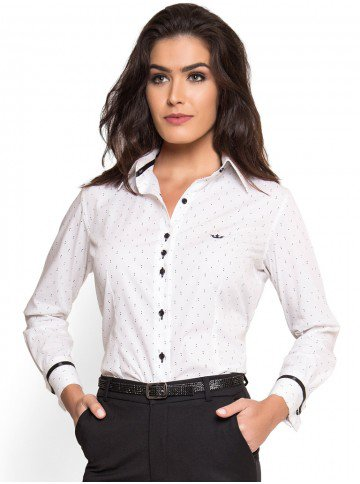 camisa social feminina branca poa principessa shirlene look
