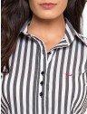 camisa social listrado preto branco com elastano principessa edla gola