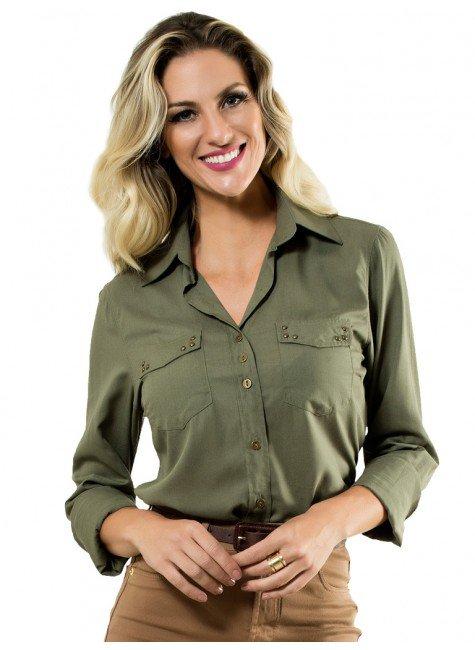 camisa verde militar feminina de viscose principessa priscila look