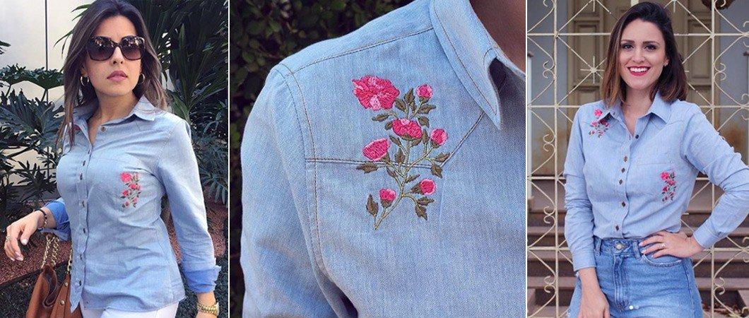 banner camisa jeans feminina com bordado