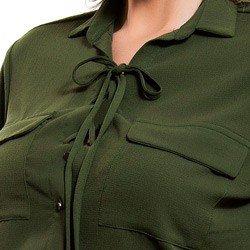 detalhe camisa feminina amarracao verde militar principessa oriana frenter
