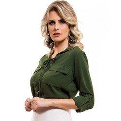 detalhe camisa feminina amarracao verde militar principessa oriana tecido