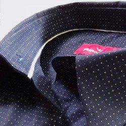camisa social marinho de poa principessa yonara algodao acabamentos internos