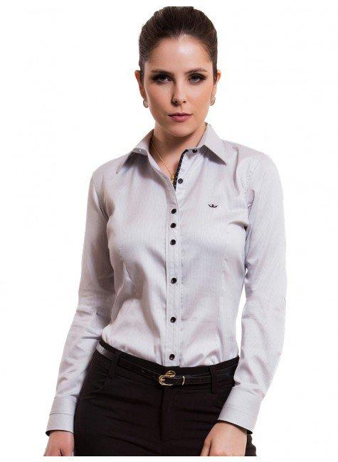 camisa feminina listrada premium principessa yeda look
