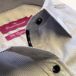 camisa feminina listrada premium principessa yeda detalhe acabamento interno