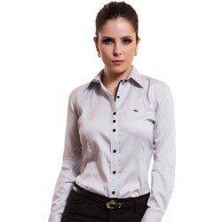camisa feminina listrada premium principessa yeda detalhe look