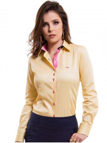 camisa classica feminina amarela principessa sara look