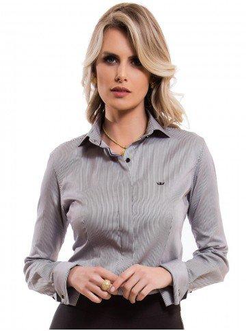 camisa feminina listrada premium principessa flora look tecido