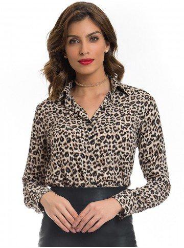 camisa animal print onca feminina principessa justina look tecido