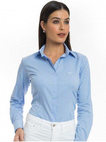 camisa listrada feminina azul principessa angelica look