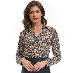 camisa feminina animal print onca principessa justina detalhe como usar