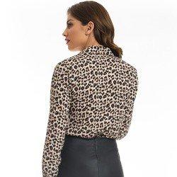 camisa feminina animal print onca principessa justina detalhe modelagem
