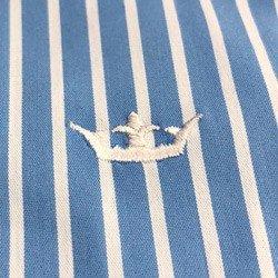 camisa listrada feminina azul principessa angelica detalhe tecido tricoline