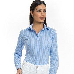 camisa listrada feminina azul principessa angelica detalhe tecido tricoline look