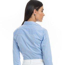 camisa listrada feminina azul principessa angelica detalhe tecido tricoline modelagem