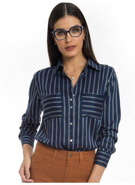 camisa social listrada azul principessa beatriz look