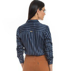 camisa social listrada azul principessa beatriz detalhe modelagem