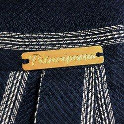 camisa social listrada azul principessa beatriz detalhe placa metal banho ouro